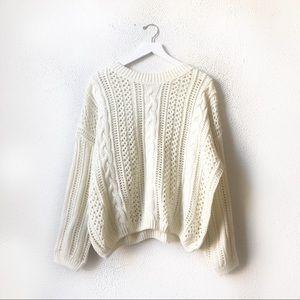 POL   Cream Chunky Cable Knit Sweater Medium